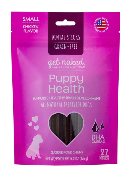 Get Naked Grain Free Puppy Health Dental Chew Sticks, Small 6.2oz, Get Naked