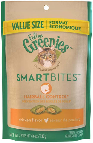 FELINE GREENIES SMARTBITES Hairball Control Chicken Flavor Treats for Cats 4.6oz