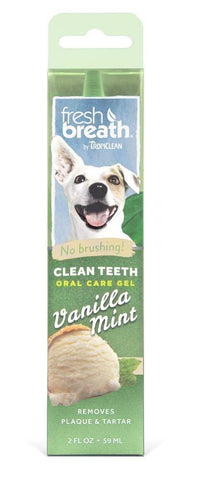 Fresh Breath by TropiClean No Brushing Vanilla Mint Clean Teeth Oral Care Gel
