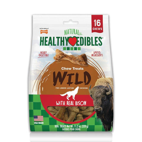 Nylabone Healthy Edibles WILD Natural Long Lasting Bison Flavor Dog Chew Treats 16 count Small - Up To 20 lb