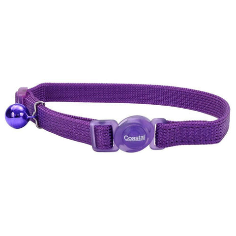 Coastal Safe Cat Adjustable Snag-Proof Nylon Breakaway Collar Purple 3/8X12