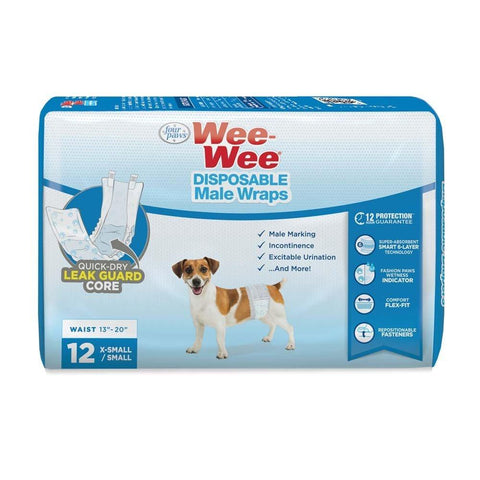 Four Paws Wee Wee Disposable Male Dog Wraps X-Small/Small 12pk