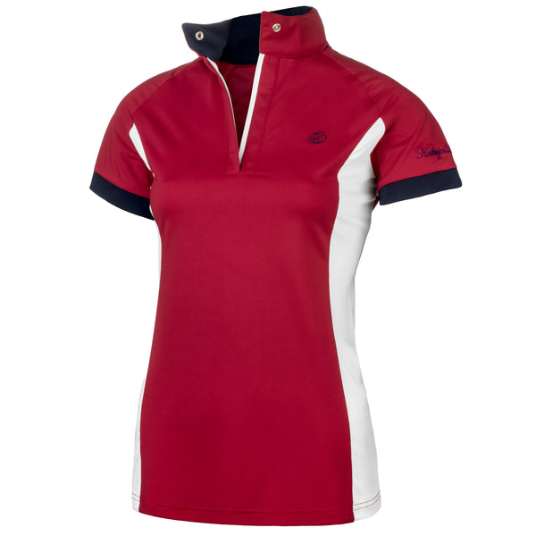 polo shirt riding shirt technical fabric red cranberry raspberry navy white zip snap hunter jumper equestrian dressage show clothes riding