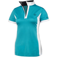 teal polo shirt aqua blue riding clothes riding shirt horse show shirt short sleeve mesh zip snap collar light weight equestrian hunter jumper dressage toddler clothes