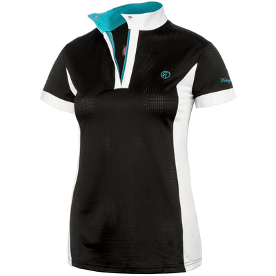 black polo shirt riding shirt show shirt teal white pullover zip show shirt snap collar mesh lightweight summer riding hunter jumper equestrian