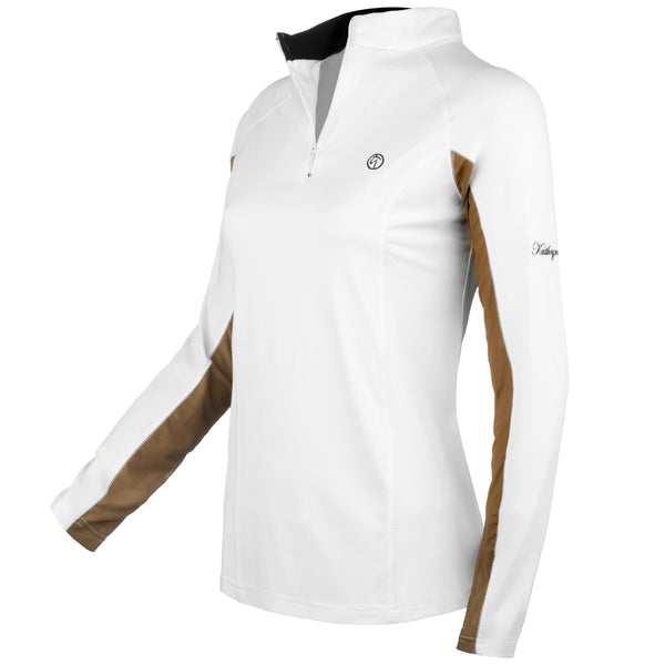 white long sleeve show shirt sun shirt protective sunshirt block riding equestrian hunter jumper showing equitation dressage tan black technical fabric