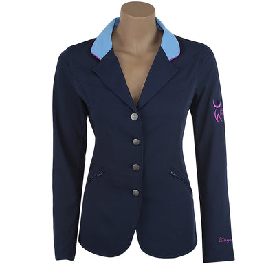 show coats show jacket light weight machine washable justworld international navy light blue collar purple trim horse show hunter jumper pony ring toddler
