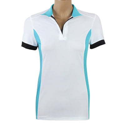 white teal black polo shirt short sleeve show shirt jumper hunter equitation equestrian riding shirt technical cooling
