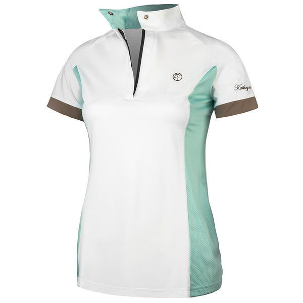 white show shirt short sleeve polo technical fabric tiffany light blue tan zip snap collar hunter jumper equitation equestrian dressage riding shirt summer coolmax wicking breathable
