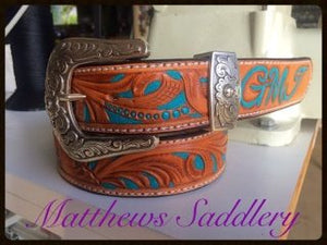 Hand Carved & Painted Turquoise Belt