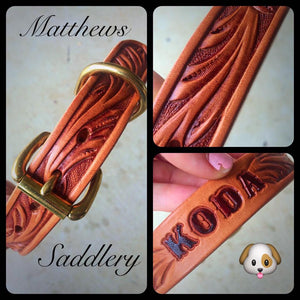 Hand Carved Leather Dog Collar - Brass Hardware