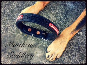 Braided Black Leather Dog Collar- Red & White