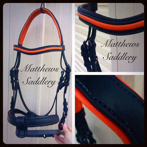 English Bridle - Black & Fluro Orange