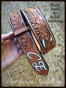 White Inlay Filigree Carved Belt