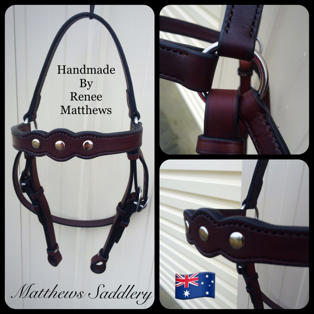 Dark Brown Studded Stock Horse Bridle