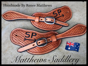 Basketweave Tooled Spur Straps