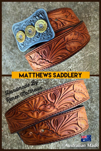 Custom Tooled Tan Belt
