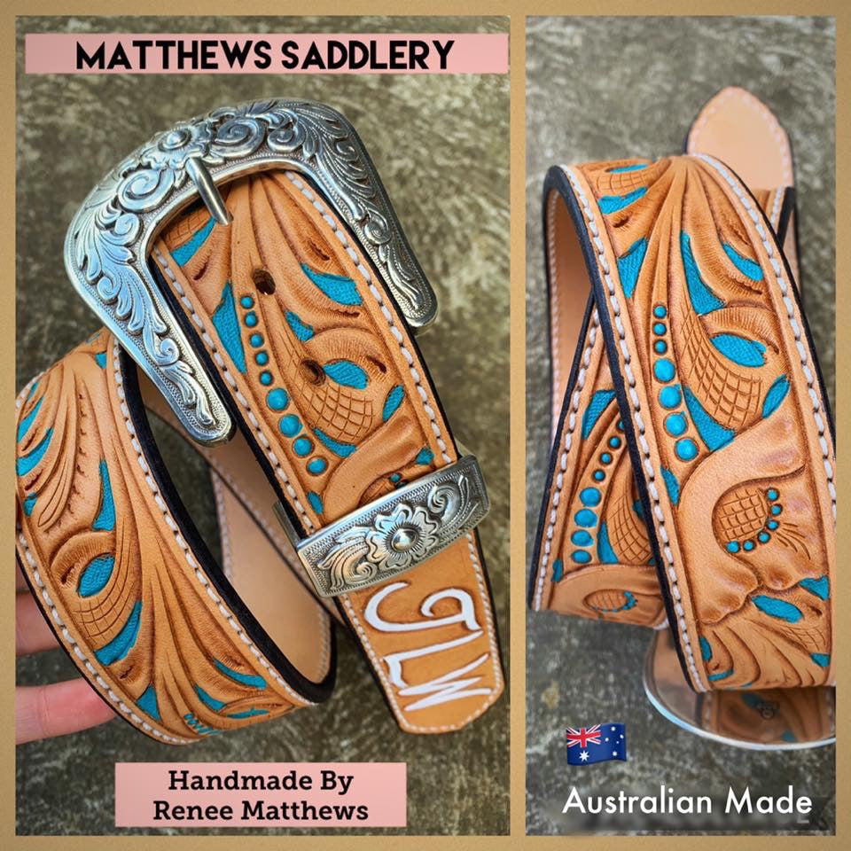 Floral Carved Light Tan With Turquoise Custom Belt