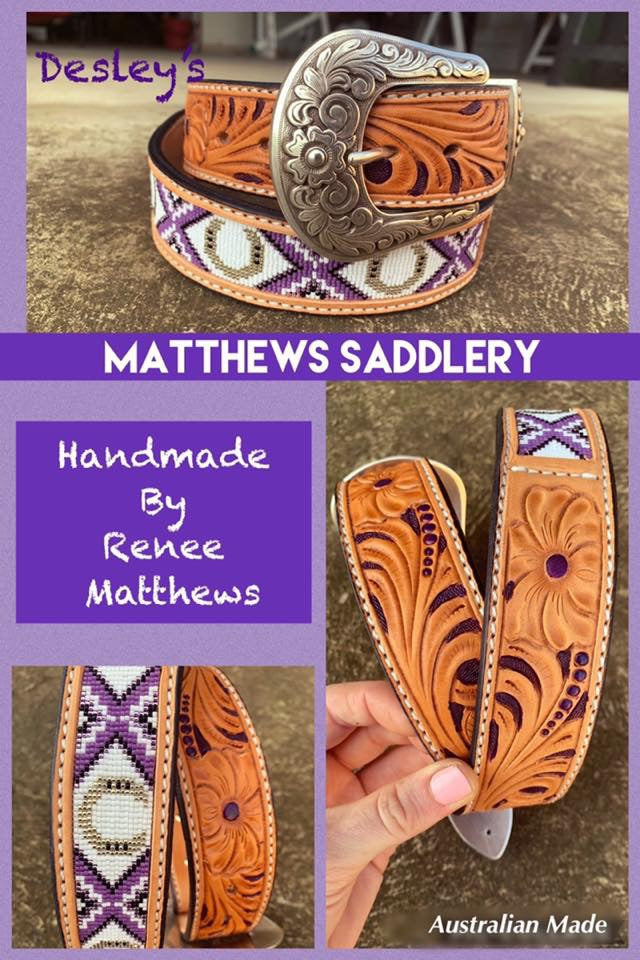 Horse Shoe Themed Beaded/Carved Belt