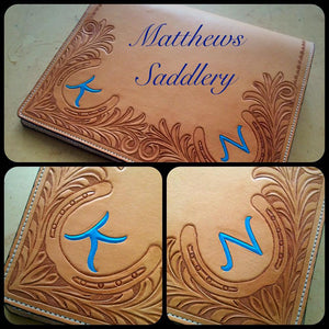 Hand Carved Personalised Log Book Cover