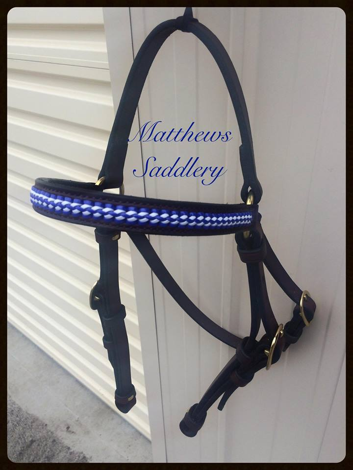 Stock Horse Braided Bridle - Blue & White