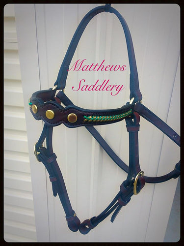 Stock Horse Show Bridle- Green & Gold