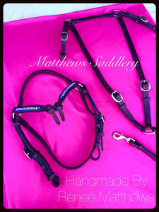 Stock Horse Show Bridle & Breastplate Set- Futurity Knot Browband