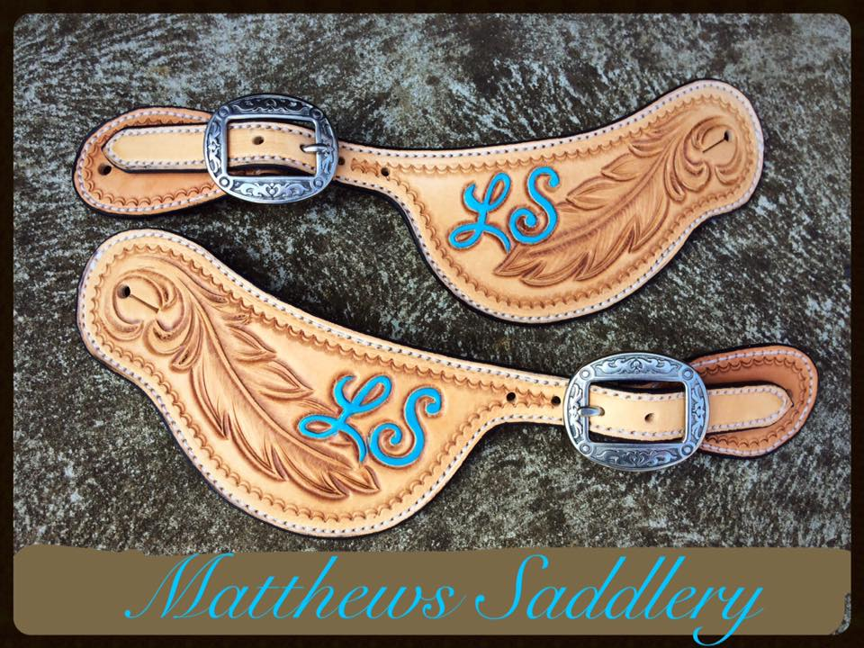 Hand Carved Feather Themed Spurs Straps - Custom Initials