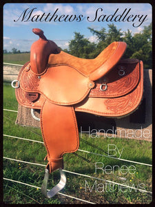 Western Saddle - Hand Carved Gum Leaves Australiana Theme