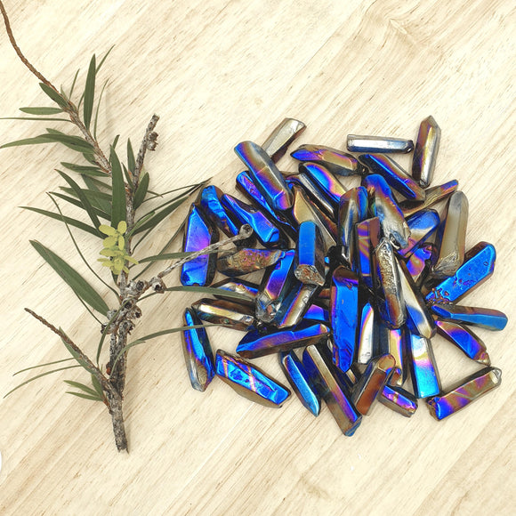 Cobalt Aura Quartz Crystal Points 100gm
