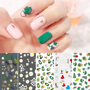 Zealer Cute Nail Art Stickers Flower Cactus Heart Patterns Design Transfer Decals Nail Art DIY Decorations