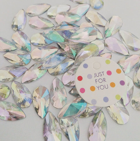 50 pcs 8x13mm Teardrop Light Crystal AB Acrylic Special Effect Rhinestones