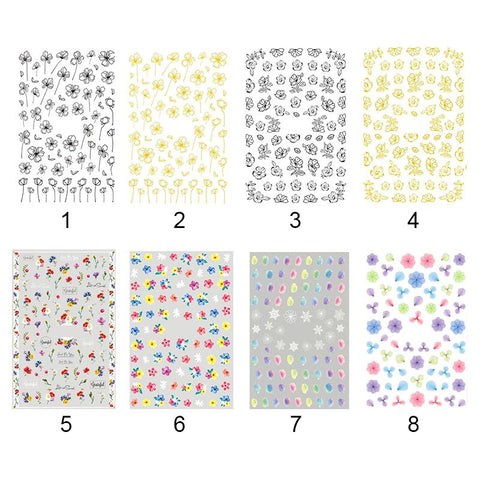 Zealer 1 Sheet Nail Water Transfer Decals Stickers Hydrangea Flowers Mixed Patterns Nail Art Design Decors