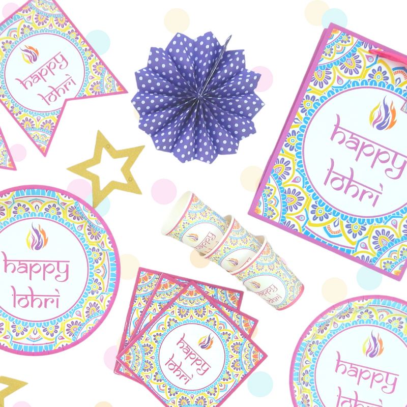 Click to see our Bright Bonfire Lohri Collection and matching party accessories!
