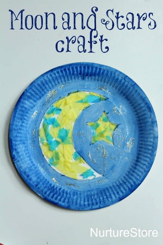 moon and stars paper plate craft