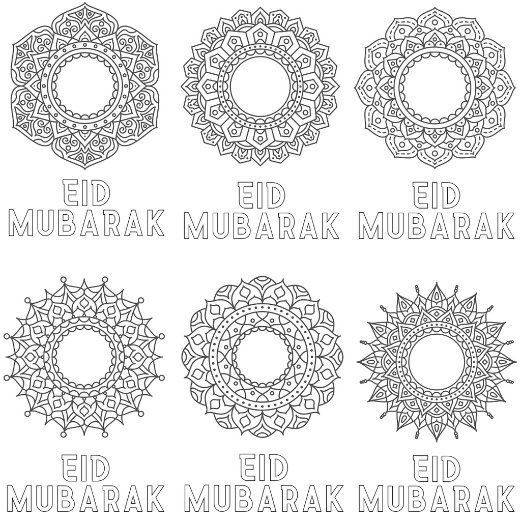 6 x Colour In Eid Greeting Cards - Peacock Supplies
