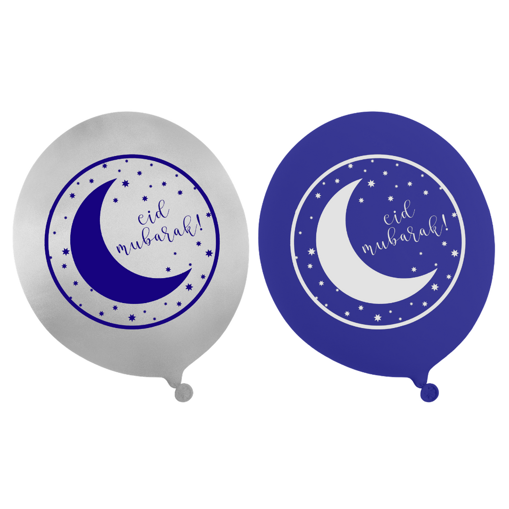 Eid Party Balloons (10pk) - Blue & Silver