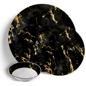 Black Gold Marble - 18pc Ceramic Dinner Set - Peacock Supplies