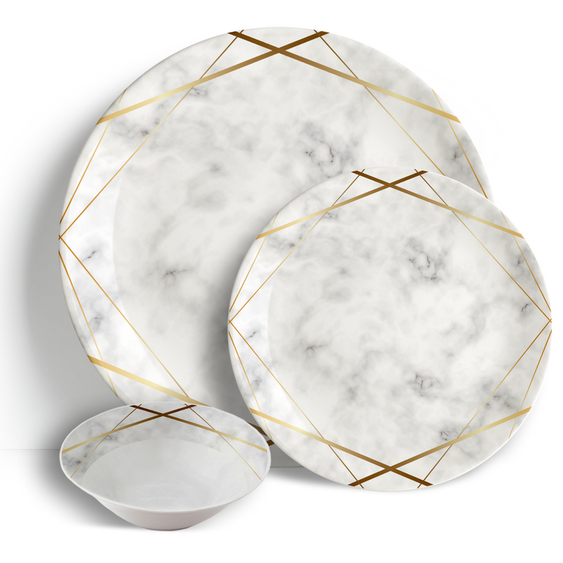 Gold Marble - 18pc Ceramic Dinner Set - Peacock Supplies
