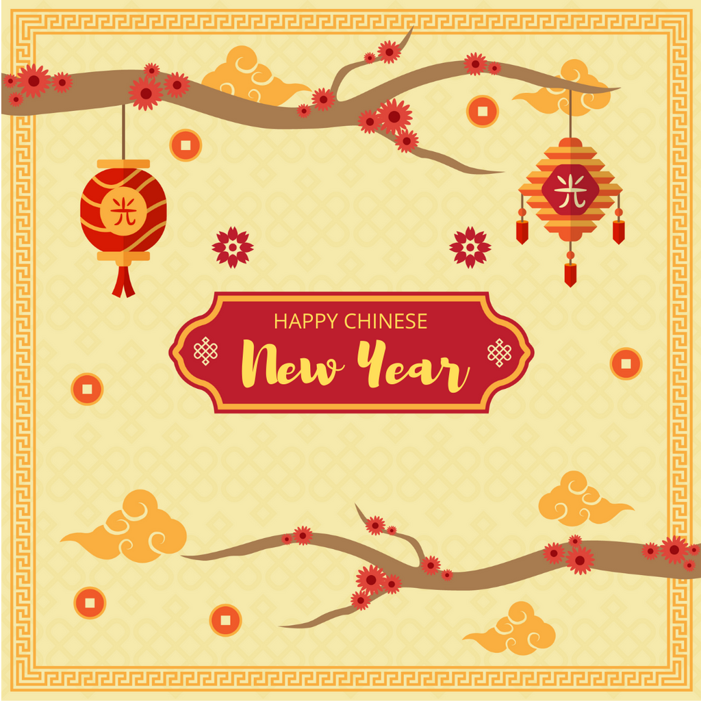 Happy Chinese New Year Greeting Card - Yellow - Peacock Supplies