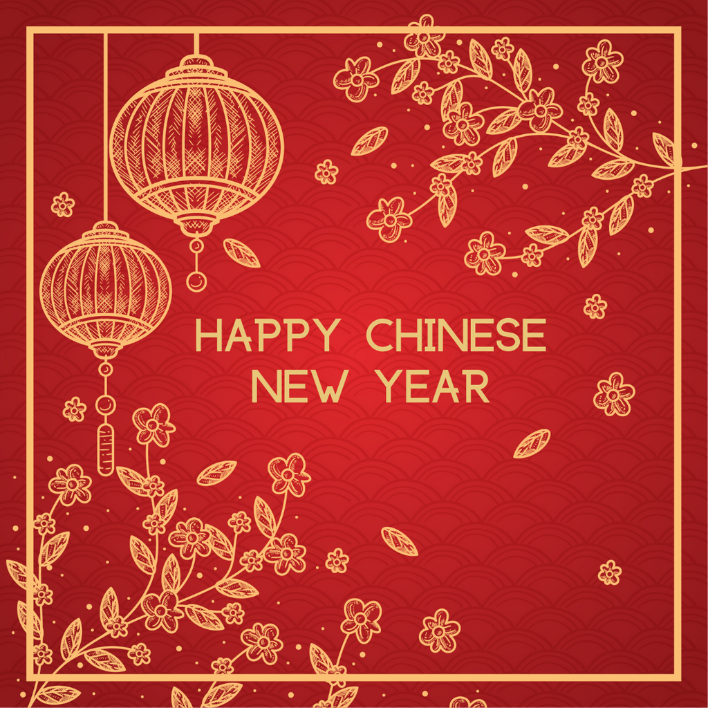 Happy Chinese New Year Greeting Card - Leaves - Peacock Supplies