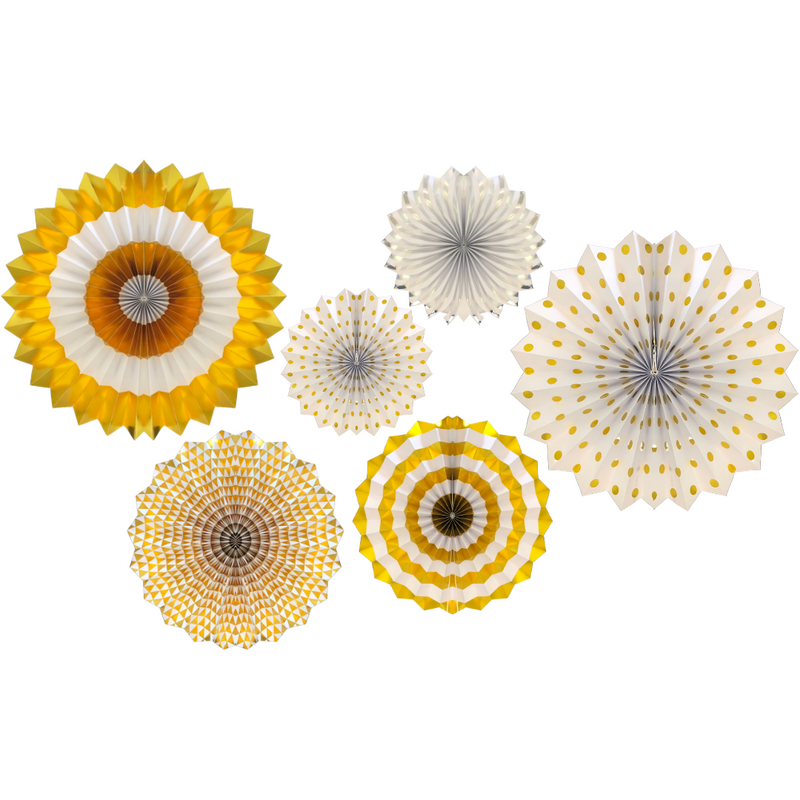 Hanging Paper Fans (6pk) - Gold & White - Peacock Supplies
