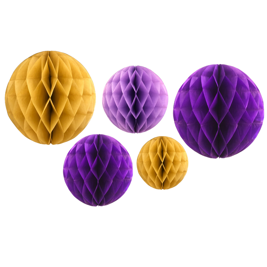 Honeycomb Ball Decorations (5pk) - Purple & Gold - Peacock Supplies