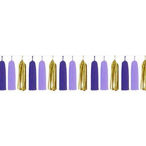 Paper Tassels (15pcs) - Purple & Gold - Peacock Supplies