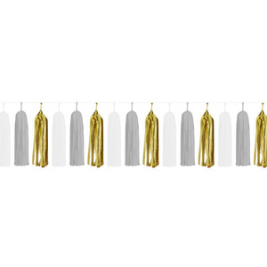 Paper Tassels (15pcs) - White & Gold - Peacock Supplies