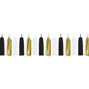 Paper Tassels (15pcs) - Black & Gold - Peacock Supplies