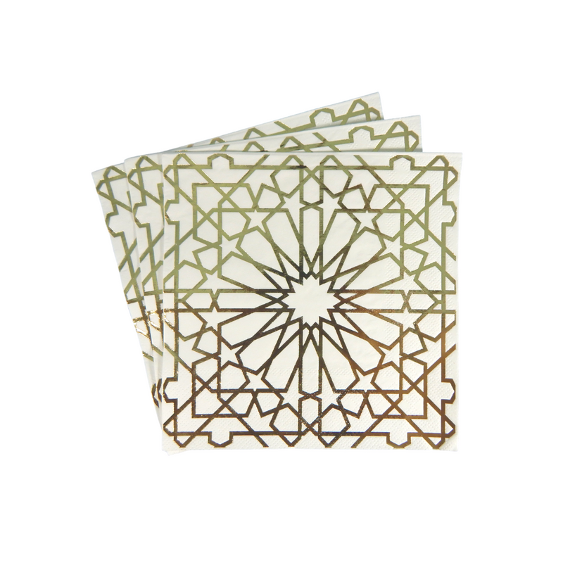Geo Gold Party Napkins - 20 pack - Peacock Supplies