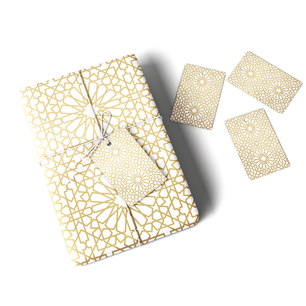 Geo Gold Gift Wrap & Tag - Peacock Supplies