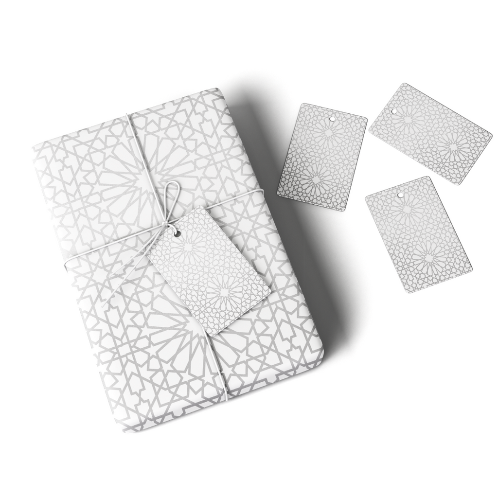 Geo Silver Gift Wrap & Tag - Peacock Supplies