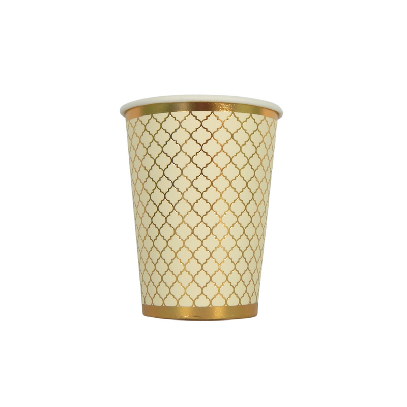 Moroccan Ivory Party Cups - 10 pack - Peacock Supplies